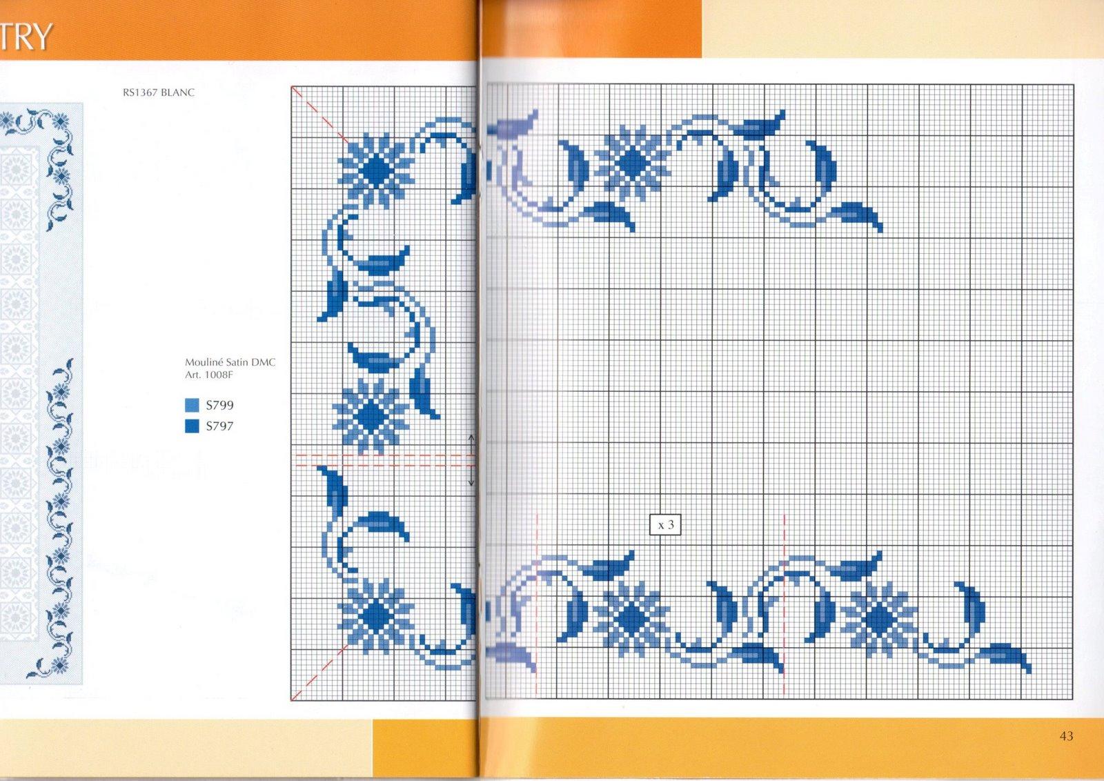 Centrotavola fiori e foglie blu 2 punto for Immagini punto a croce