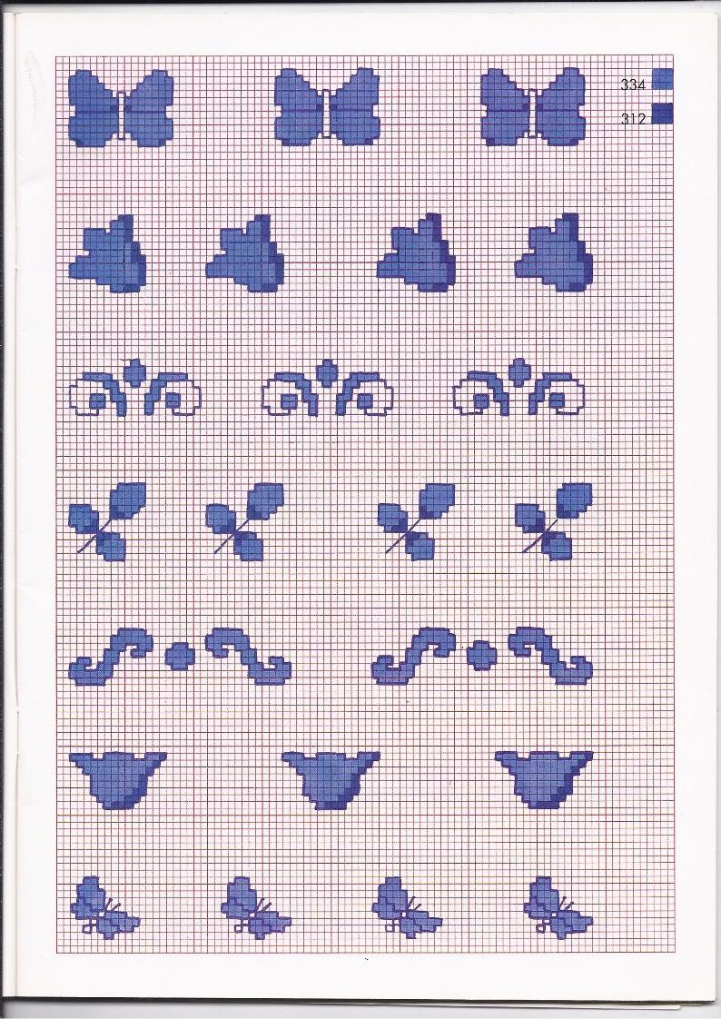Piccoli schemi punto croce monocolore per la cucina for Farfalle a punto croce gratis