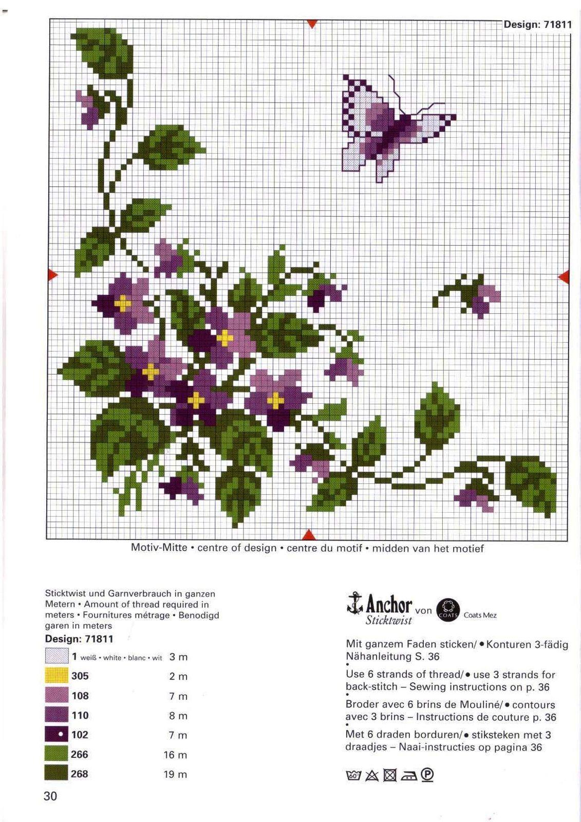 Cuscini fiori farfalle rico 4 punto for Schemi punto croce fiori e farfalle