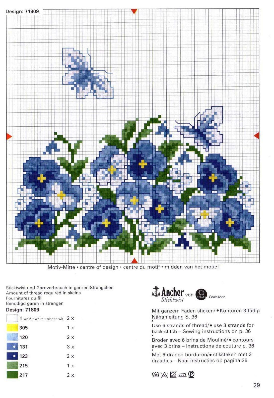 Cuscini fiori farfalle rico 3 punto for Schemi punto croce fiori e farfalle