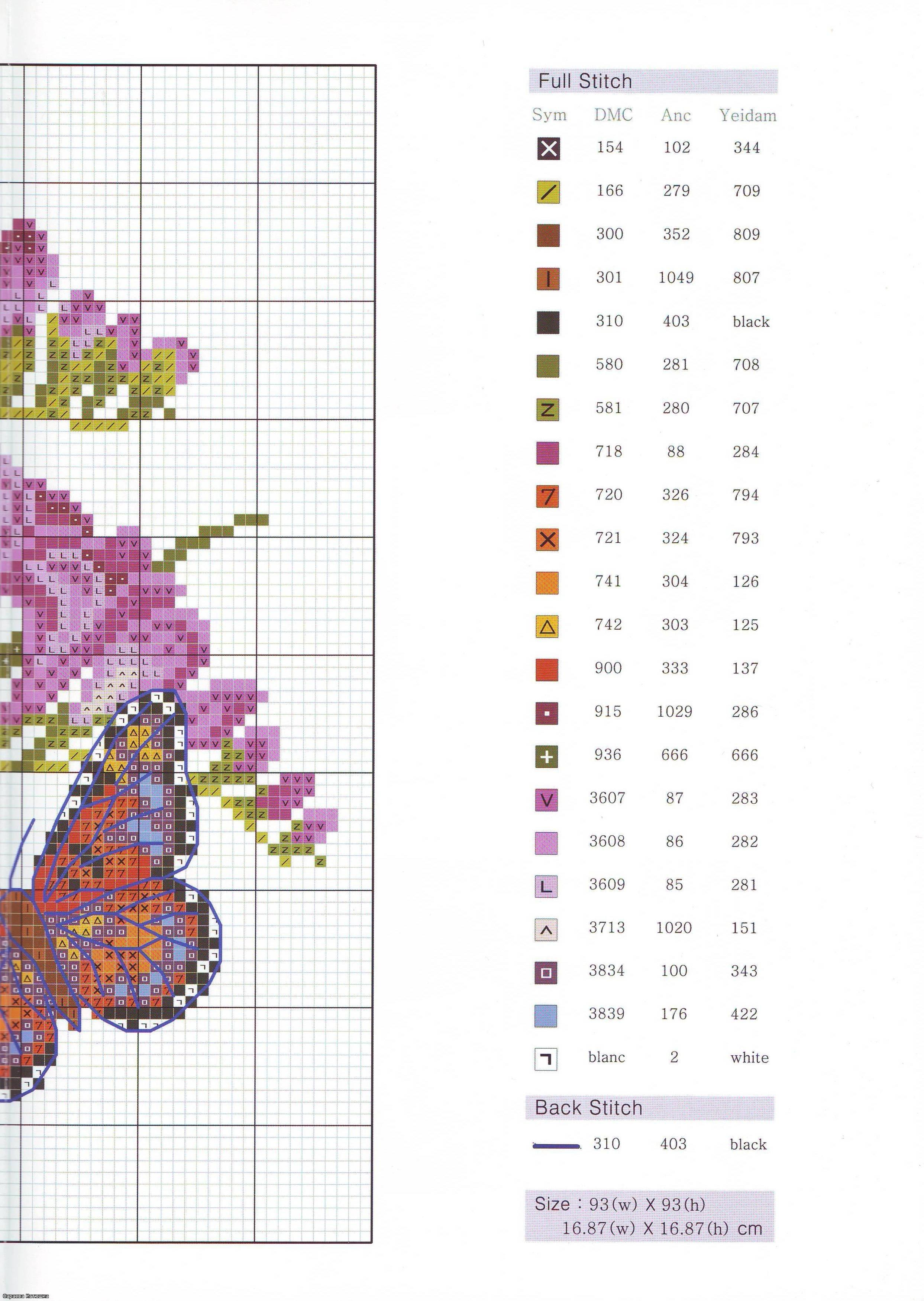 Cuscino fresie e farfalle1 4 punto for Schemi punto croce farfalle