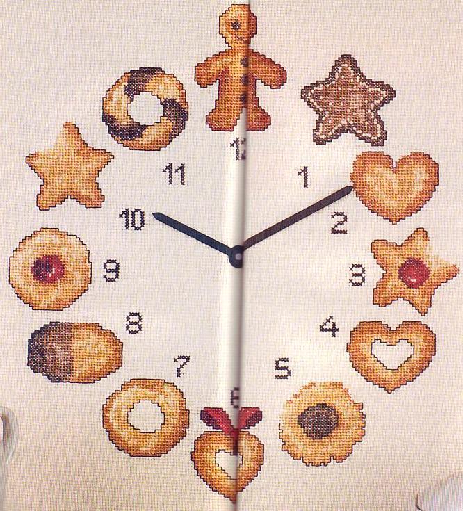 Orologio biscotti 1 punto croce for Orologio punto croce schemi gratis