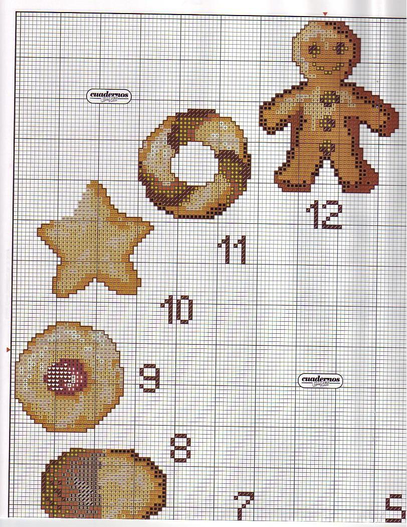 Orologio biscotti 2 punto croce for Orologio punto croce schemi gratis