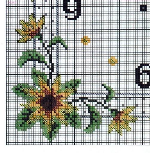 Orologio girasoli 3 punto croce for Orologio punto croce schemi gratis