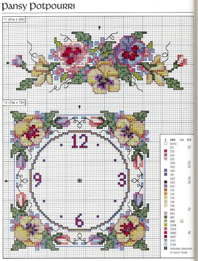 Orologio pans 2 punto croce uncinetto for Orologio punto croce schemi gratis