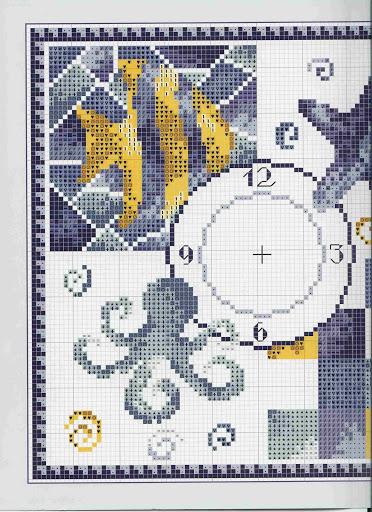 Orologio pesciolino stella marina 3 for Orologio punto croce schemi gratis