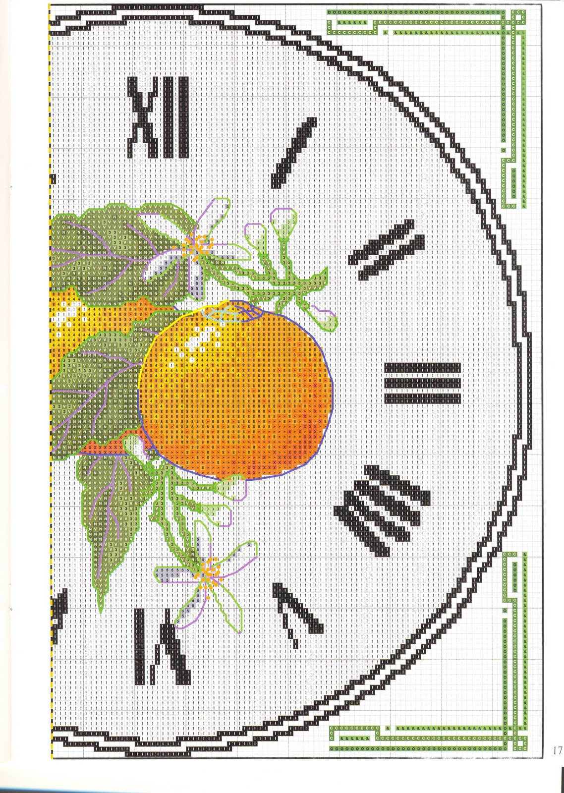 Orologio punto croce arance 3 punto for Orologio punto croce schemi gratis