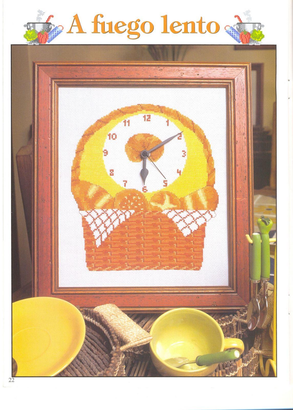 Orologio punto croce cesto di pane 1 for Orologio punto croce schemi gratis
