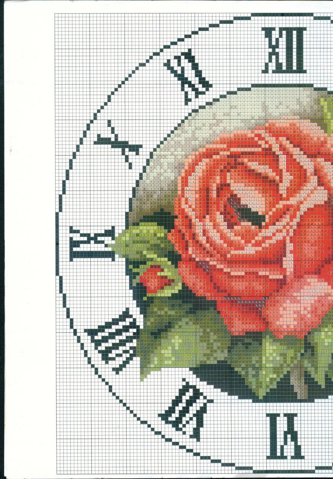 Orologio rotodo rose rosse punto croce 1 magiedifilo for Orologio punto croce schemi gratis
