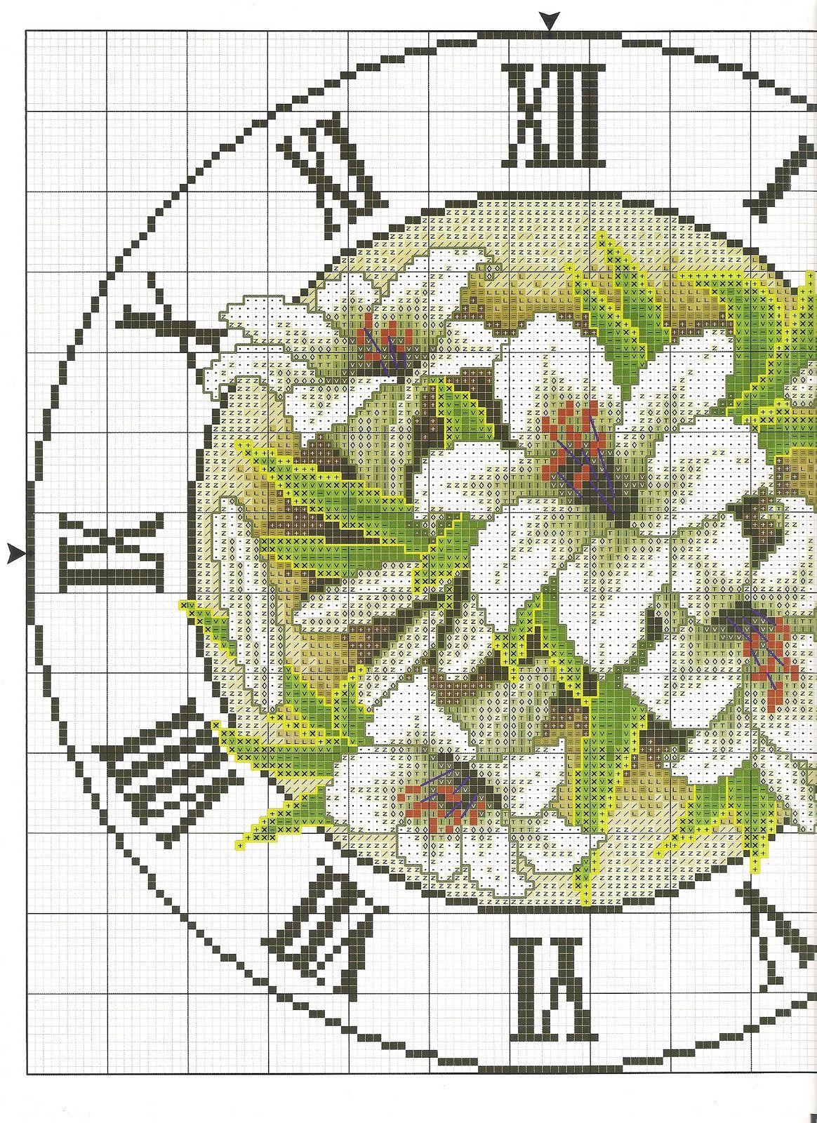 Orologio rotondo con gigli punto croce 1 magiedifilo for Orologio punto croce schemi gratis