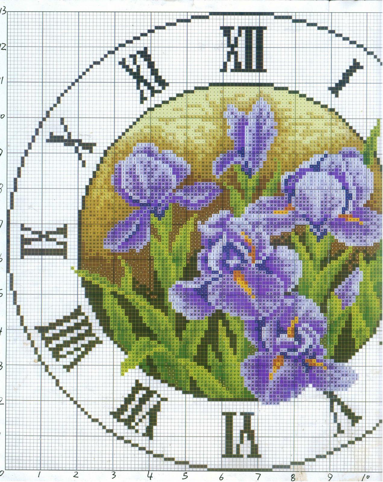 Orologio rotondo con iris punto croce for Orologio punto croce schemi gratis