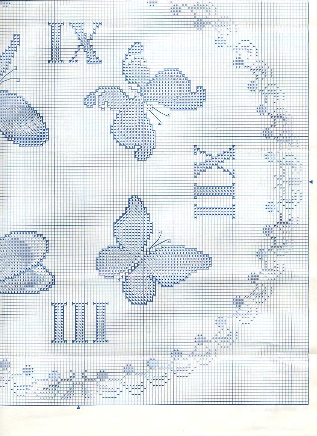 Orologio volo di farfalle 2 punto croce for Schemi punto croce farfalle