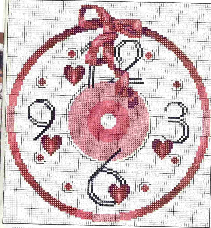 Orologio cuori 1b punto croce uncinetto for Orologio punto croce schemi gratis