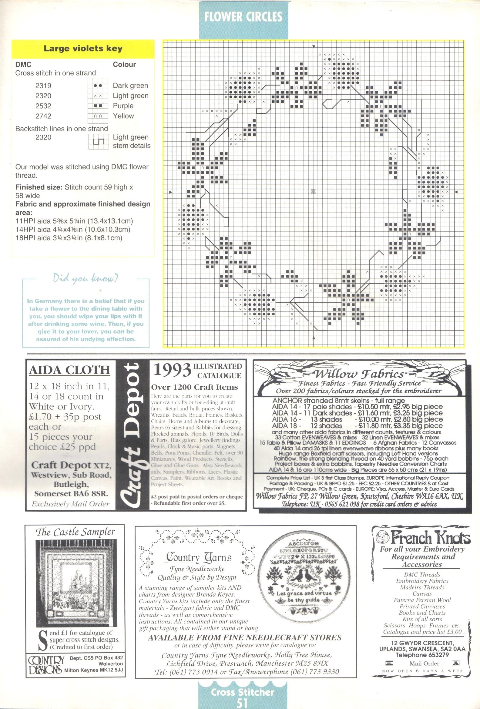Schemi per piccoli quadri floreali 8 for Registro casa schemi