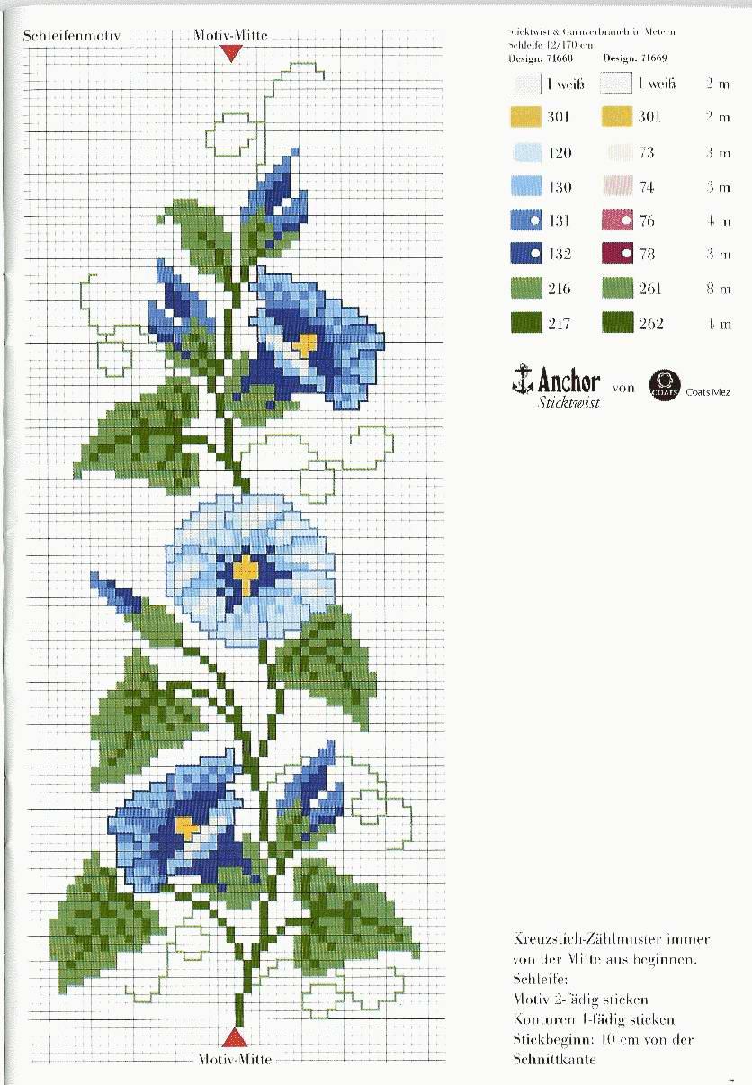 Schema punto croce fiore campanula blu azzurra punto croce uncinetto schemi - Disegni punto croce per tovaglie da tavola ...