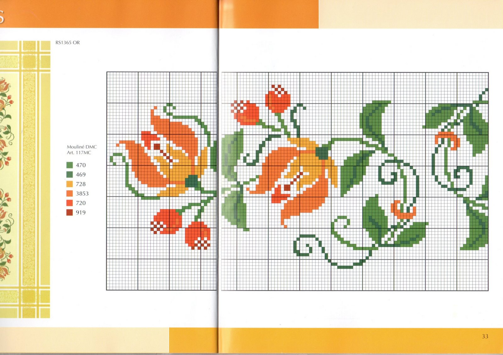 Tovaglia punto croce fiori arancioi stilizzati 2 for Immagini punto a croce