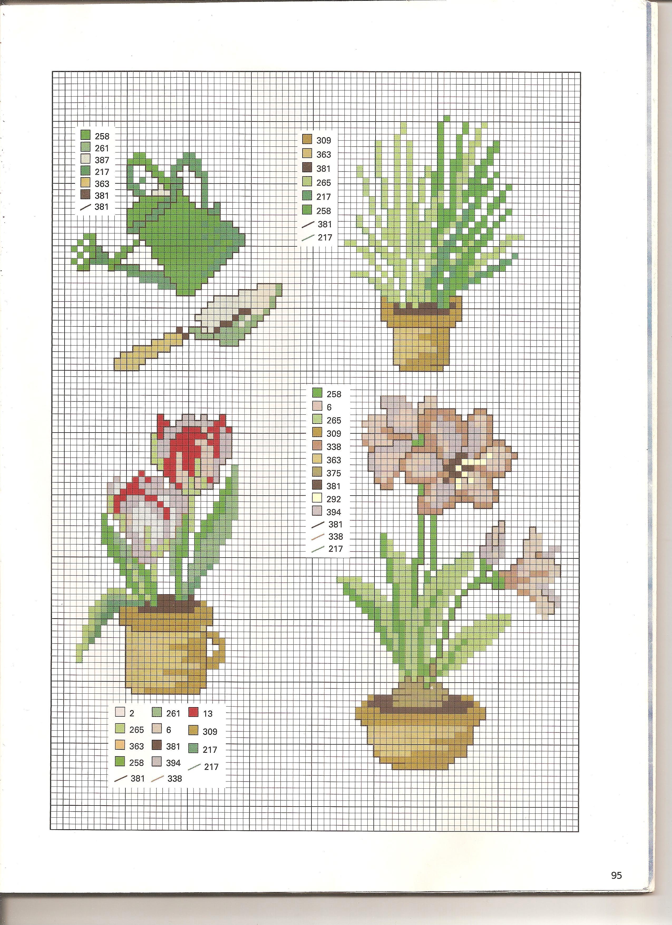 Tovaglia vasi di fiori 3 punto croce for Immagini punto a croce