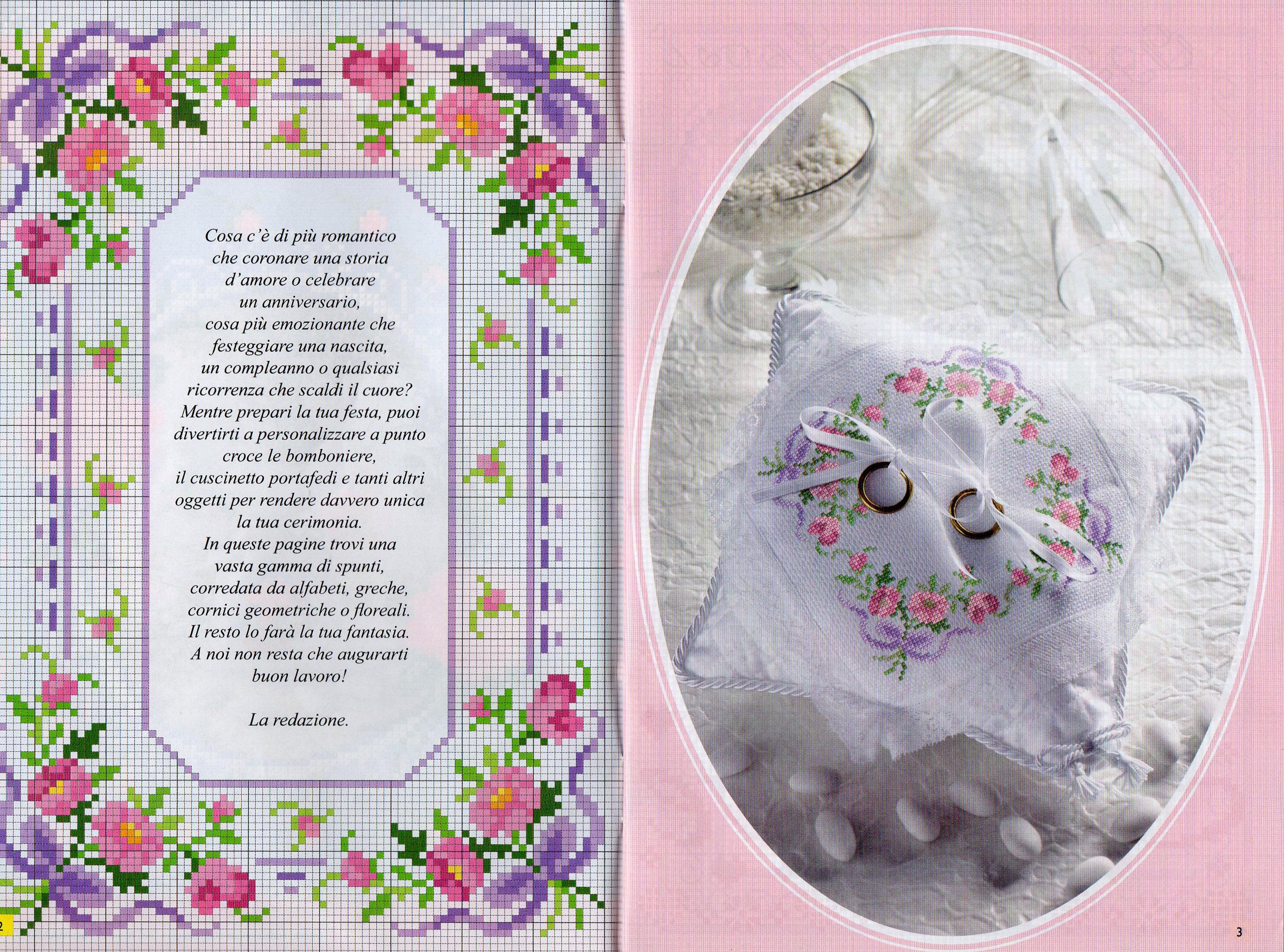 Cuscino portafedi fiorellini fiocchi - Cuscino portafedi punto croce ...