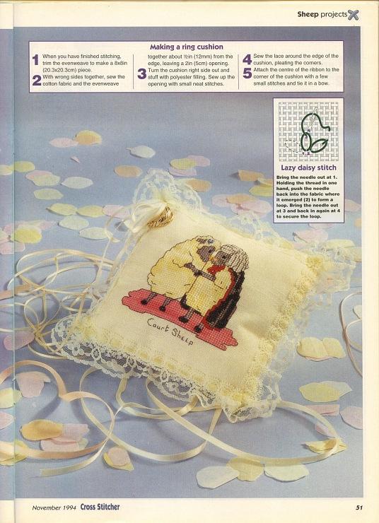 Cuscino portafedi punto croce con due tenere pecore 1 - Cuscino portafedi punto croce ...
