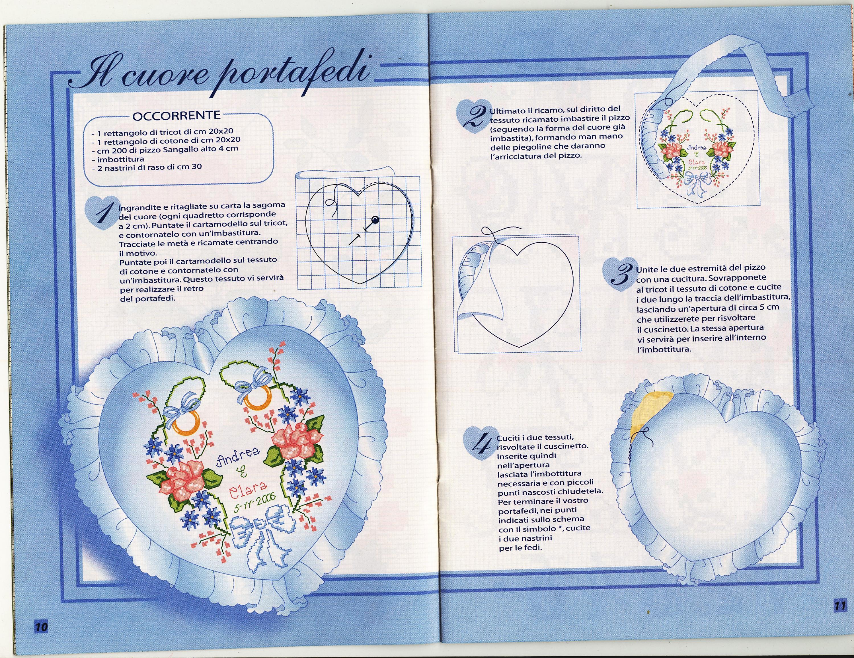 Portafedi cuore fiori 1 punto croce - Cuscino portafedi punto croce ...