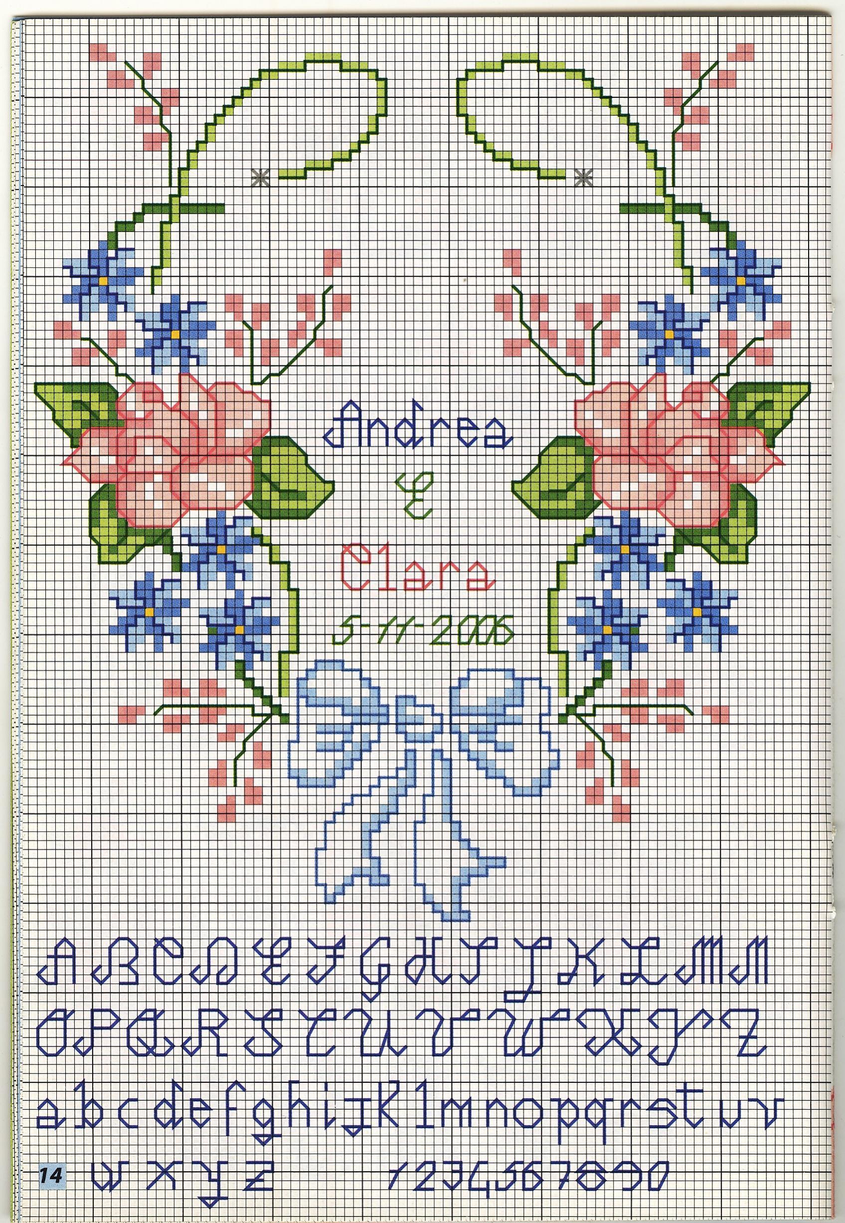Portafedi cuore fiori 2 punto croce - Cuscino portafedi punto croce ...