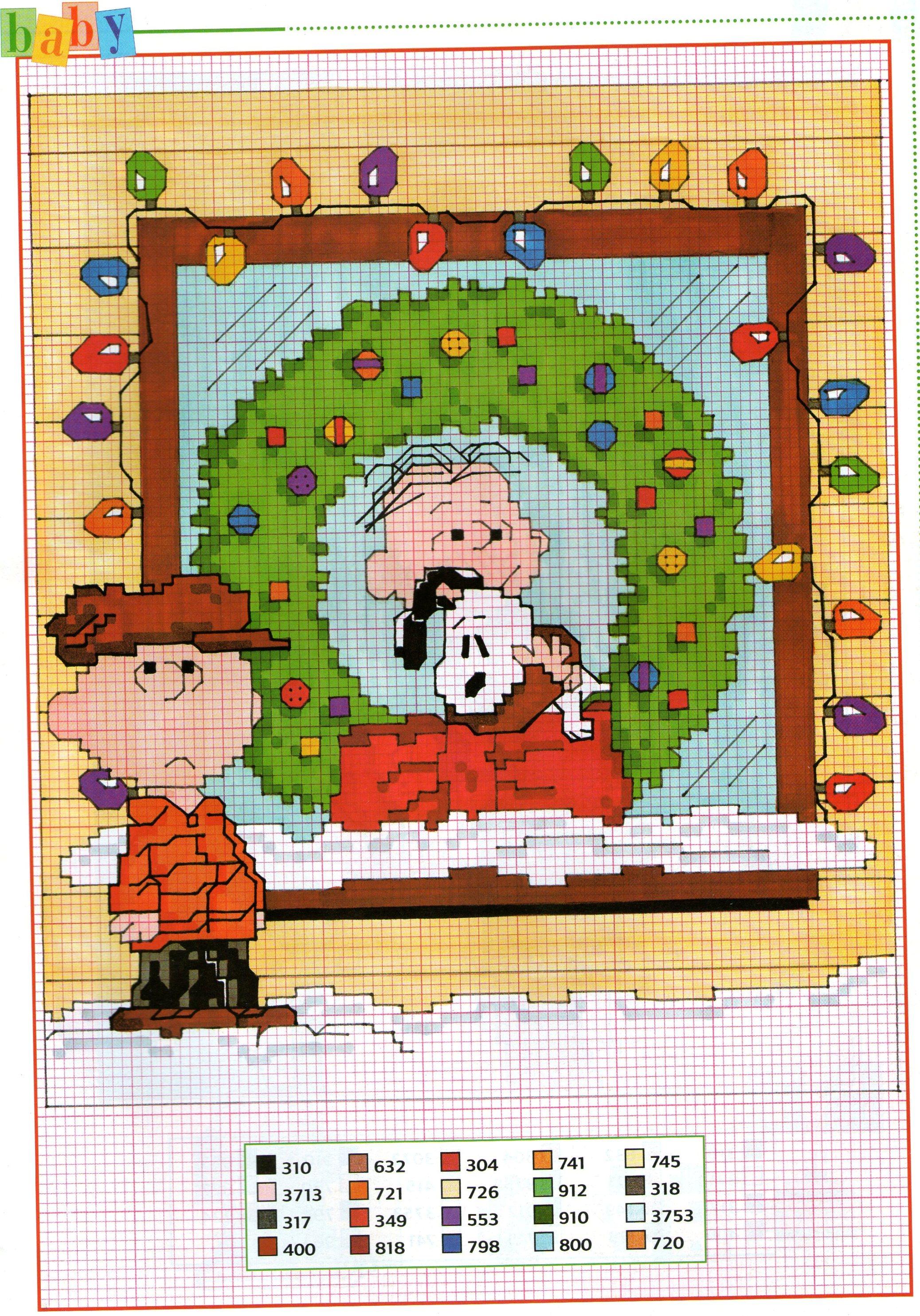 Immagini Natale Linus.Charlie Brown Linus E Snoopy Con Ghirlanda Natale Schema Da Ricamare