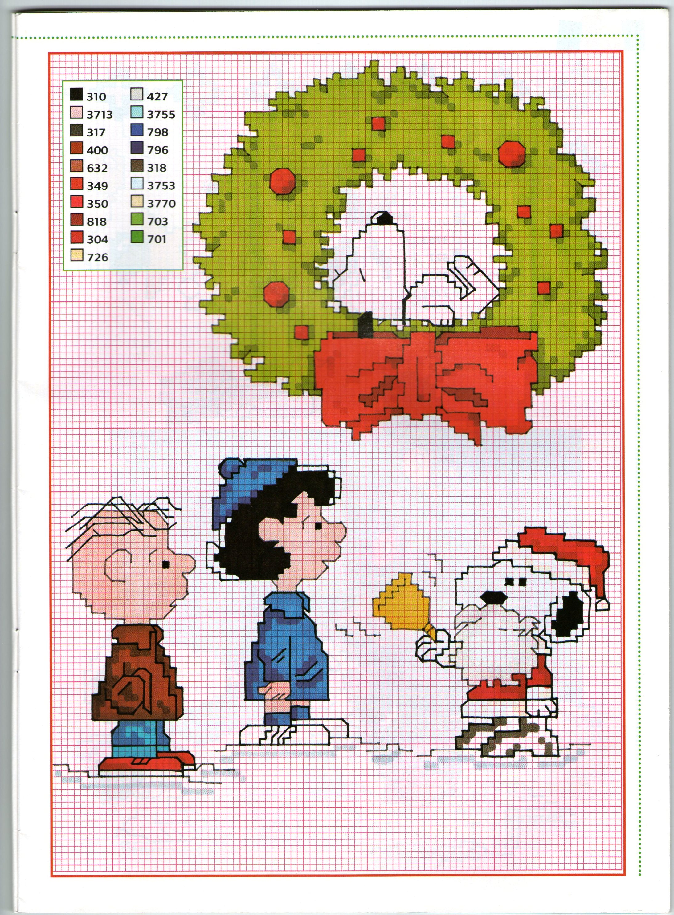 Immagini Natale Snoopy.Charlie Brown Lucy E Snoopy Babbo Natale Schema Punto Croce