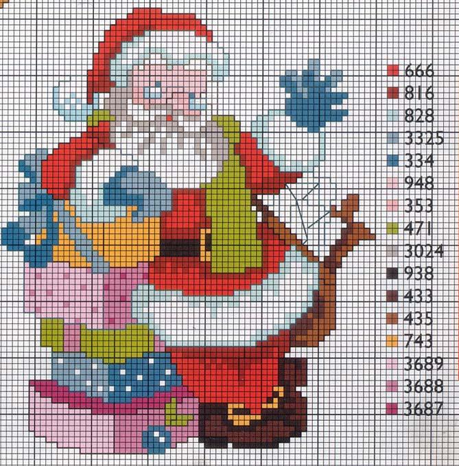 Babbo Natale Punto Croce Schemi Gratis.Babbo Natale Con I Doni Saluta Magiedifilo It Punto Croce
