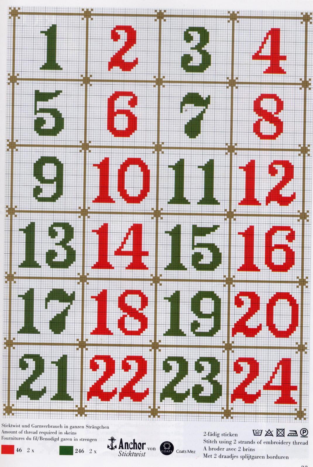 Calendario Dellavvento Punto Croce.Calendario Avvento Punto Croce Schemi Ikbenalles