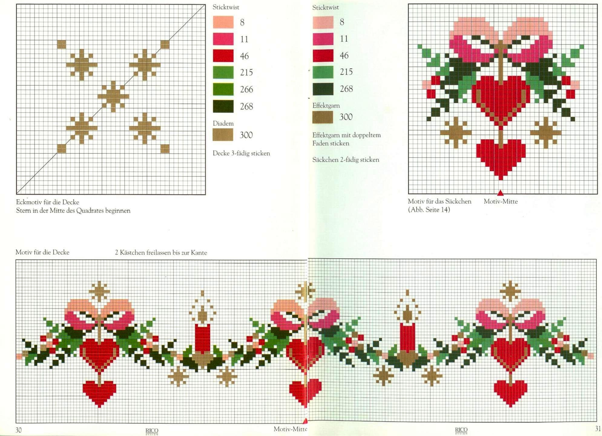 Natale fiocchi cuori candele punto croce - Disegni punto croce per tovaglie da tavola ...