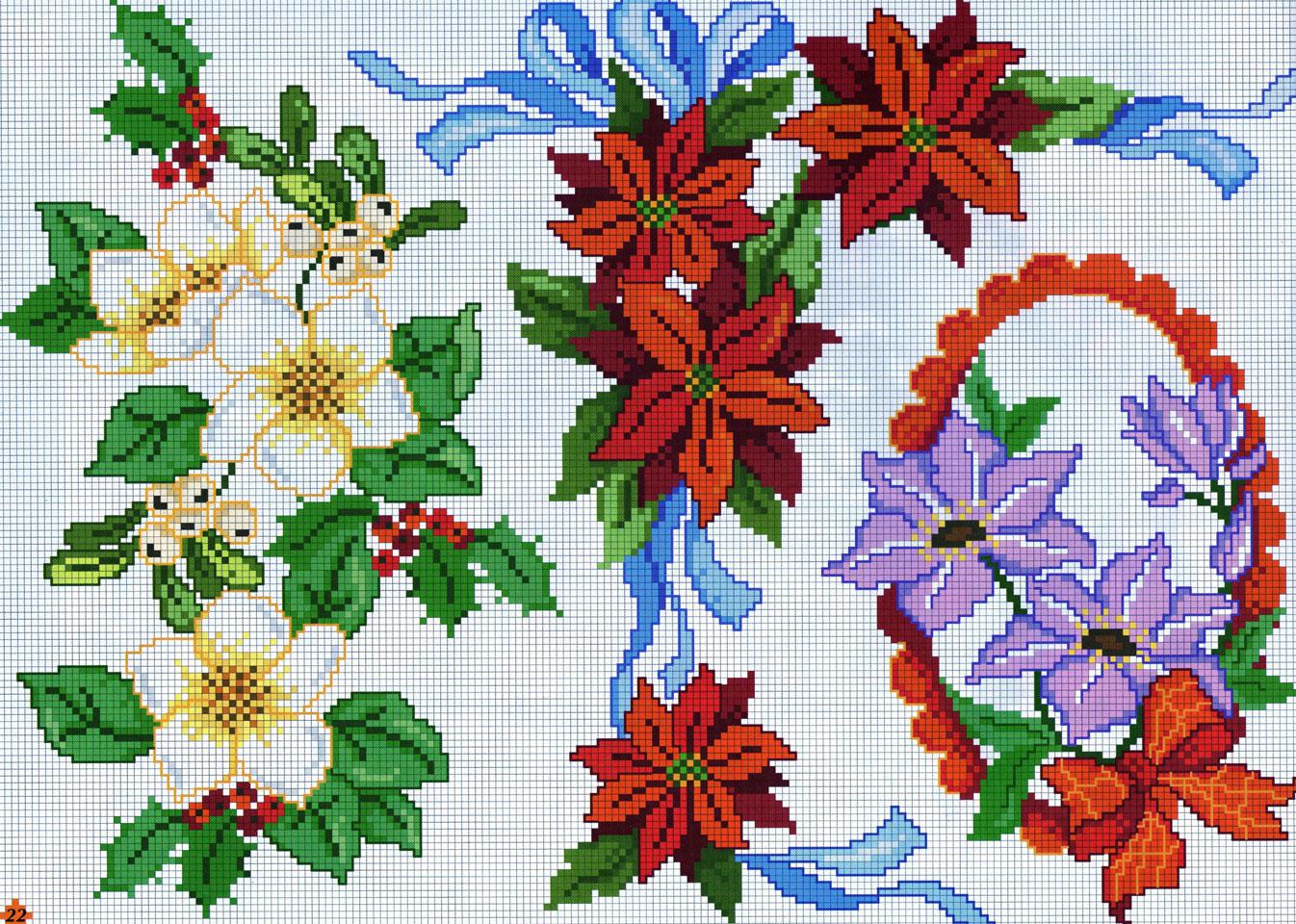 Natale fiori rossi viola punto croce for Immagini punto croce