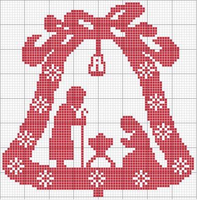 Natale Presepe Campana Monocolore Magiedifiloit Punto Croce