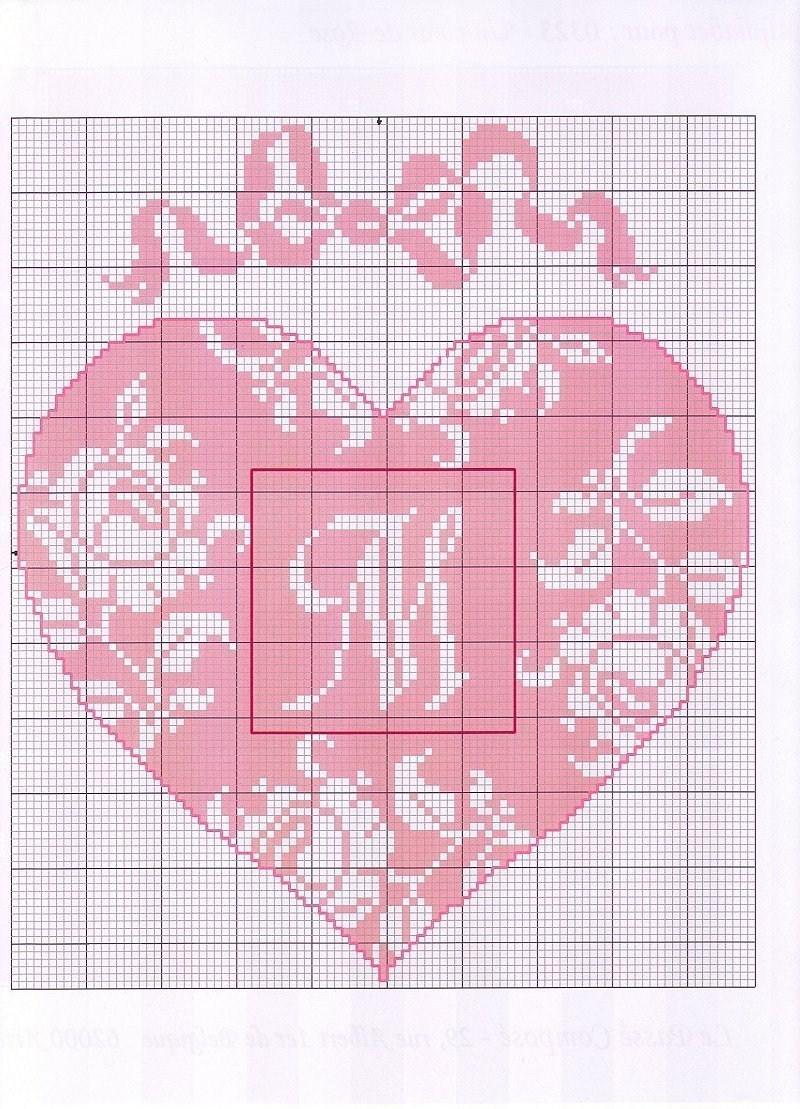 Cuore punto croce con lettere alfabeto 1 magiedifilo for Lettere a punto a croce