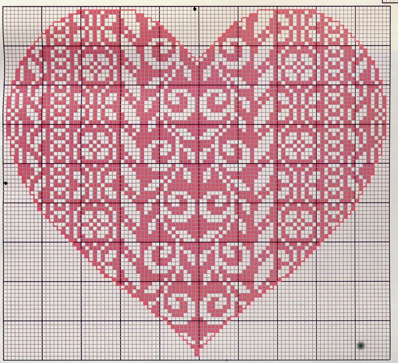 Сердце вышивка схема на вязаных вещах