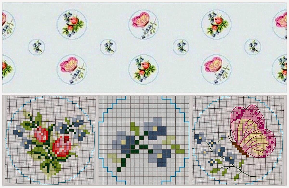 Fiori rosa e farfalle schema punto croce for Schemi punto croce fiori e farfalle