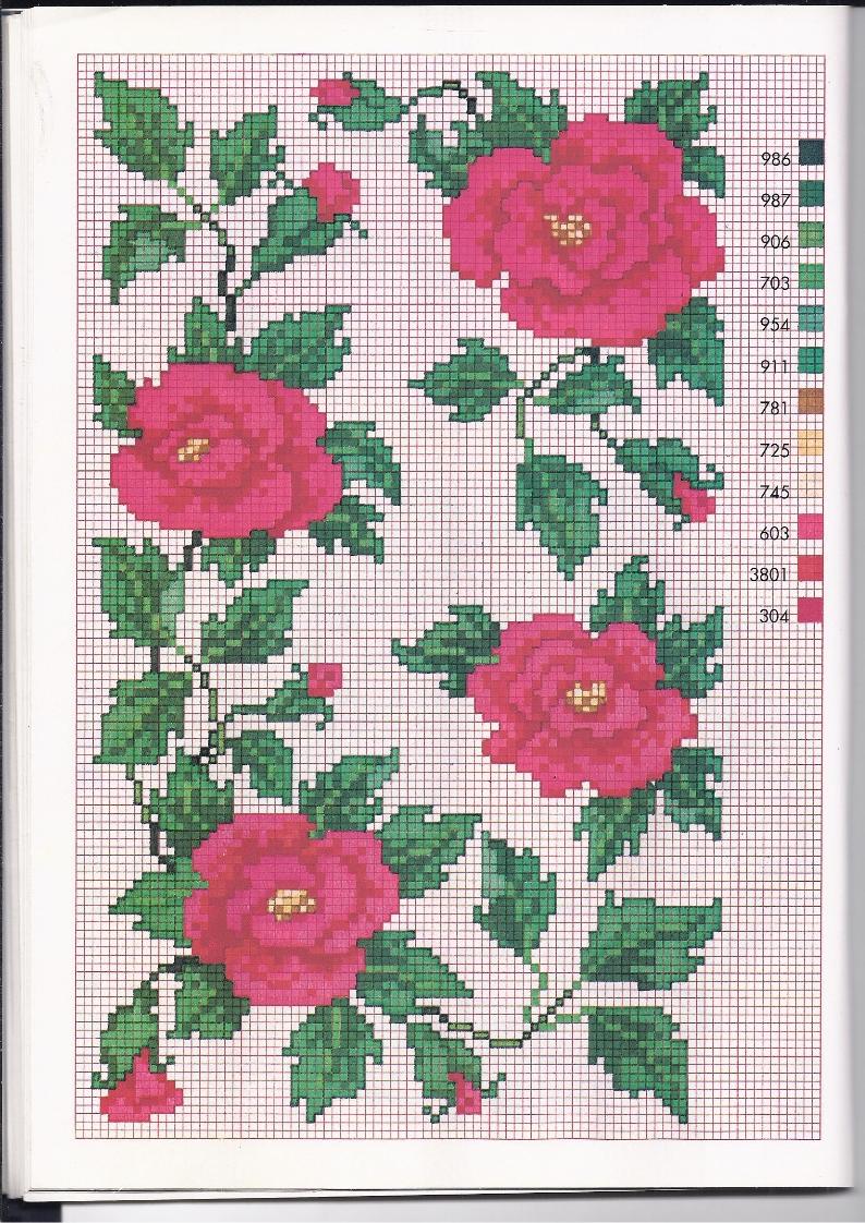 Rose rosse sbocciate schemi punto croce gratuiti for Schemi gratis a punto croce