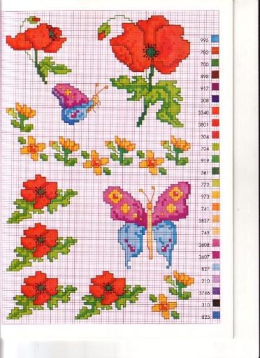 Fiori papaveri farfalla punto croce for Schemi punto croce fiori e farfalle