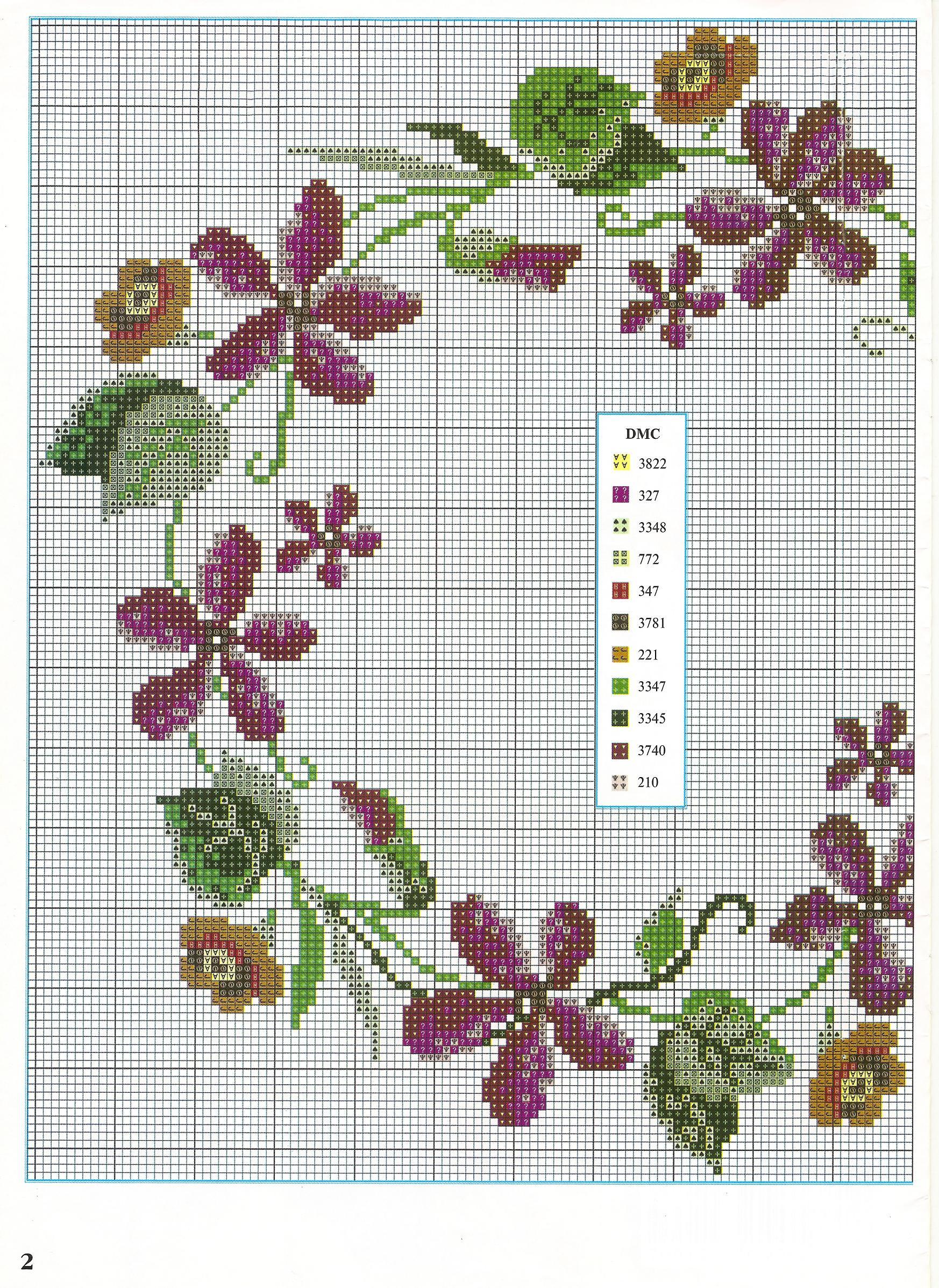 Ghirlanda di violette e pans 1 punto for Schemi punto croce fiori e farfalle