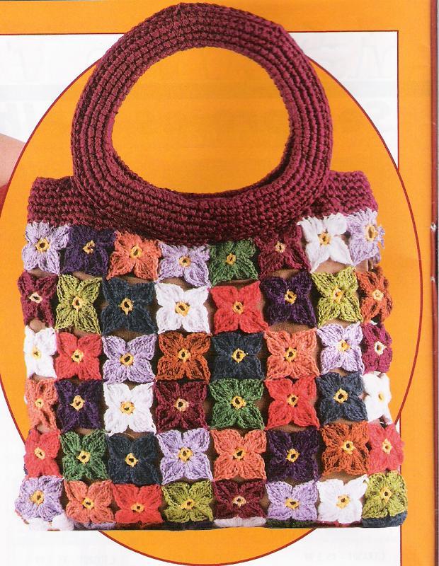 Borsa fiorellini uncinetto colorati 1 for Schemi borse uncinetto