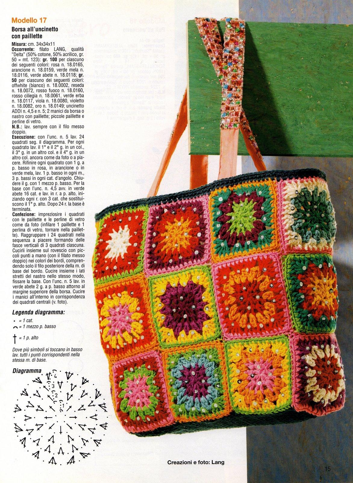 Borsa uncinetto colorata con paillettes punto croce uncinetto schemi gratis for Schemi borse uncinetto