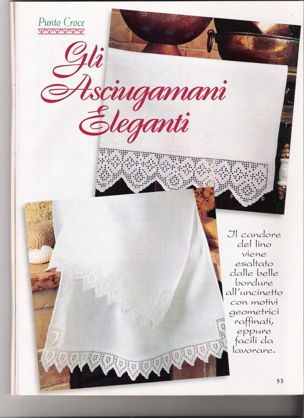 Bordi filet asciugamani 1 punto croce for Schemi bordi uncinetto per asciugamani