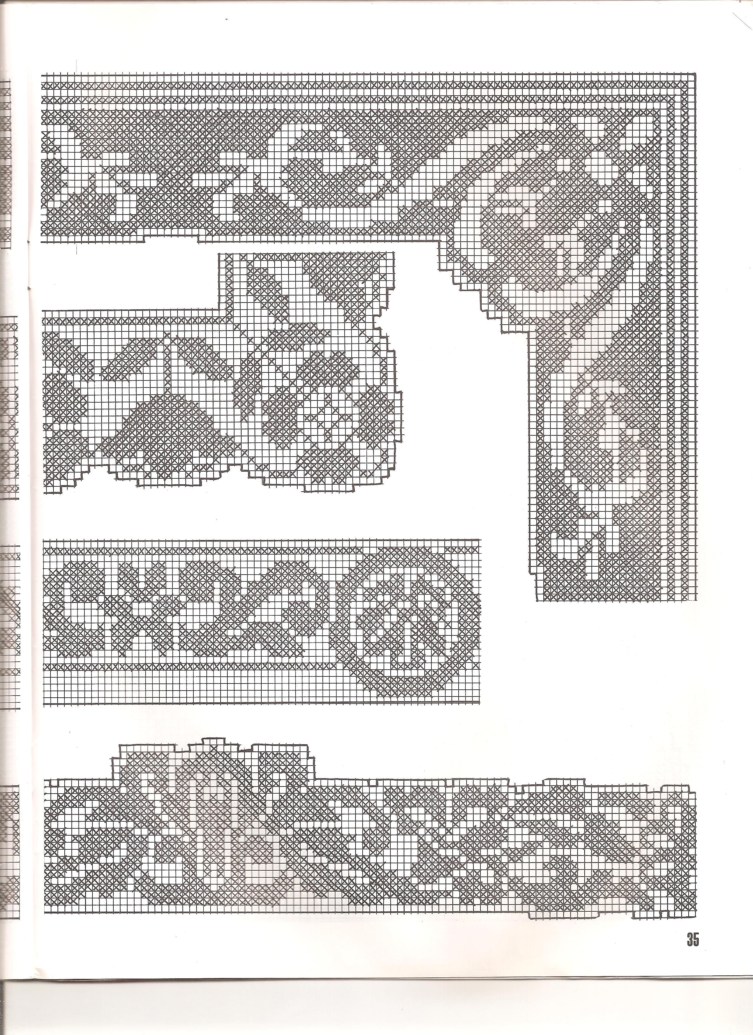 Bordi filet con angoli 4 punto croce for Bordure uncinetto schemi