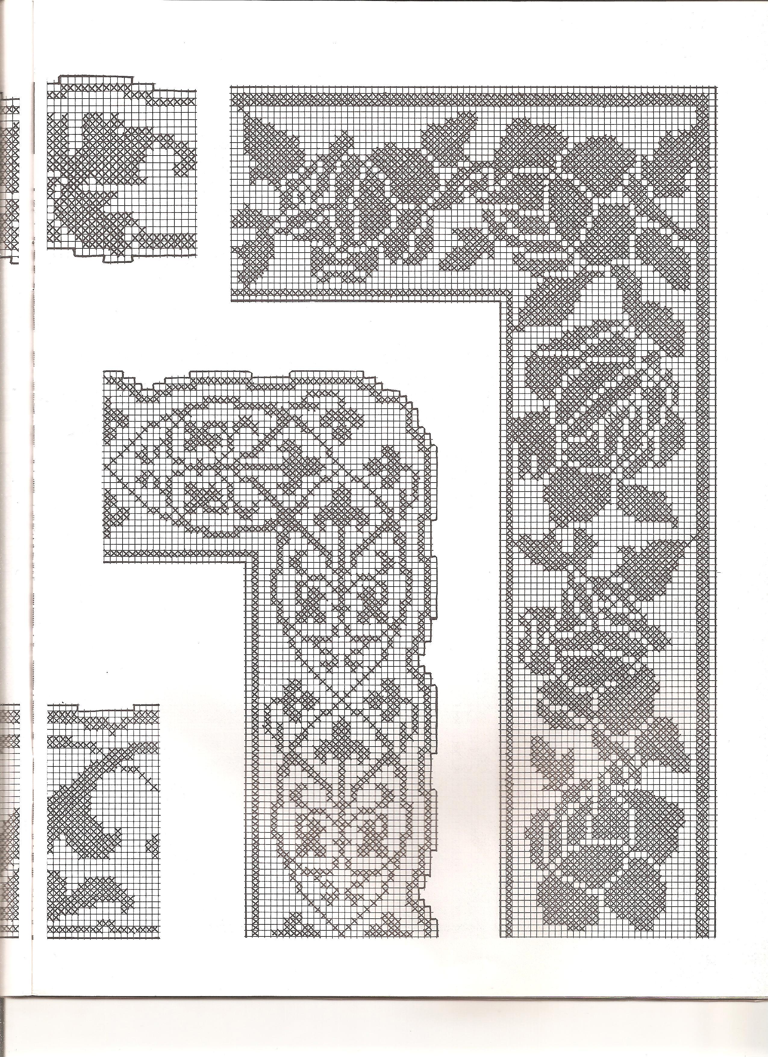 Bordi filet con angoli 2 punto croce for Schemi bordure uncinetto per lenzuola