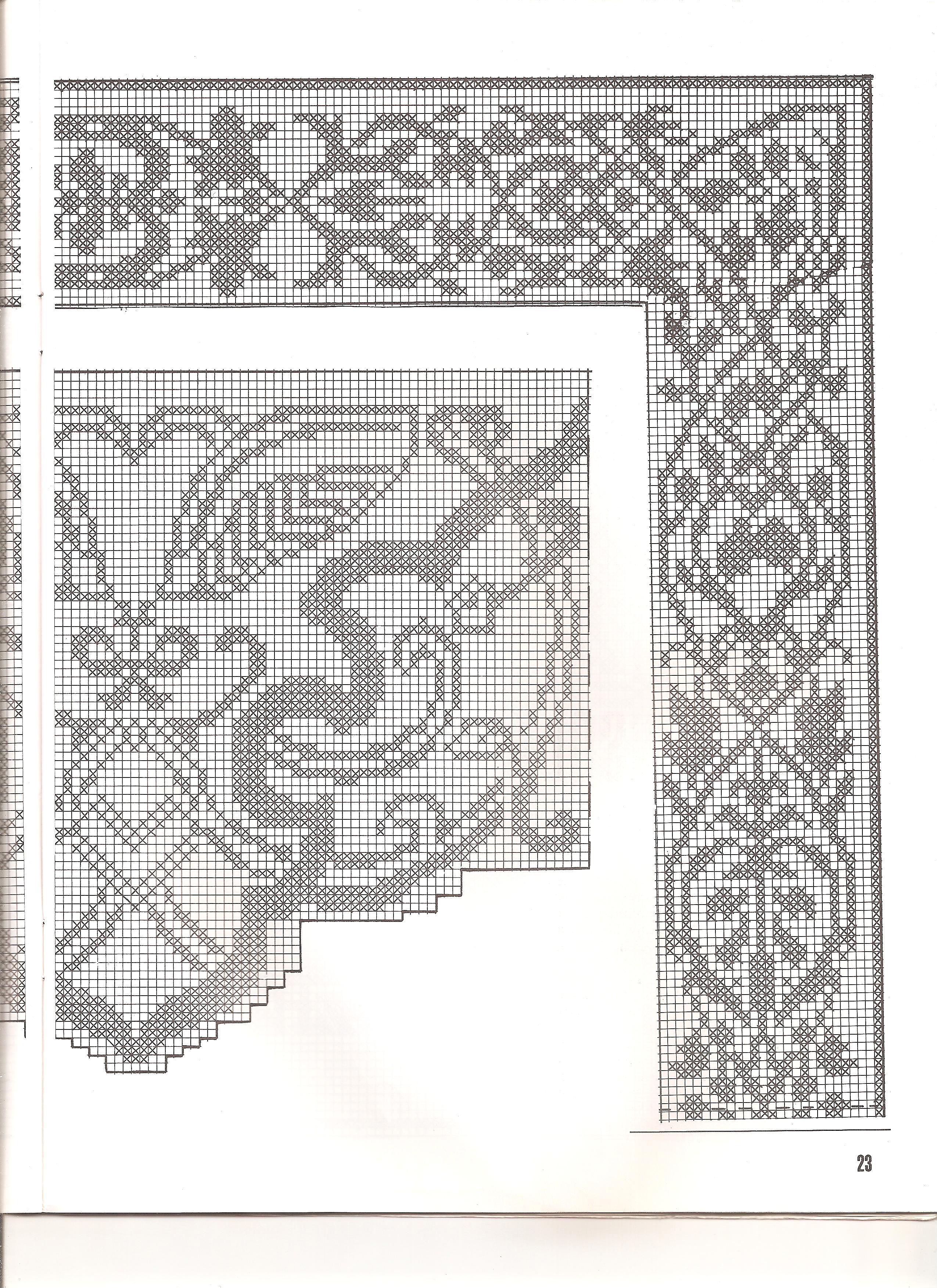 Bordi filet con angoli 5 punto croce for Schemi bordi uncinetto