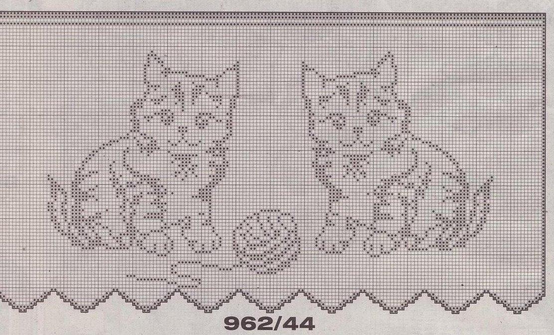 Bordo filet gattini punto croce uncinetto for Schemi bordure uncinetto per lenzuola