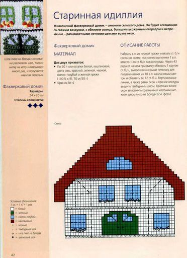 Presina casetta 2 punto croce uncinetto for Registro casa schemi