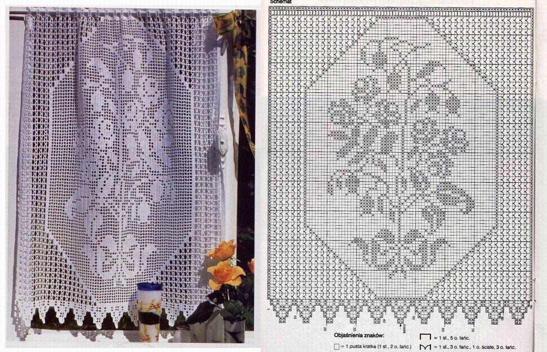 Филейное вязание шторы занавески схемы 8