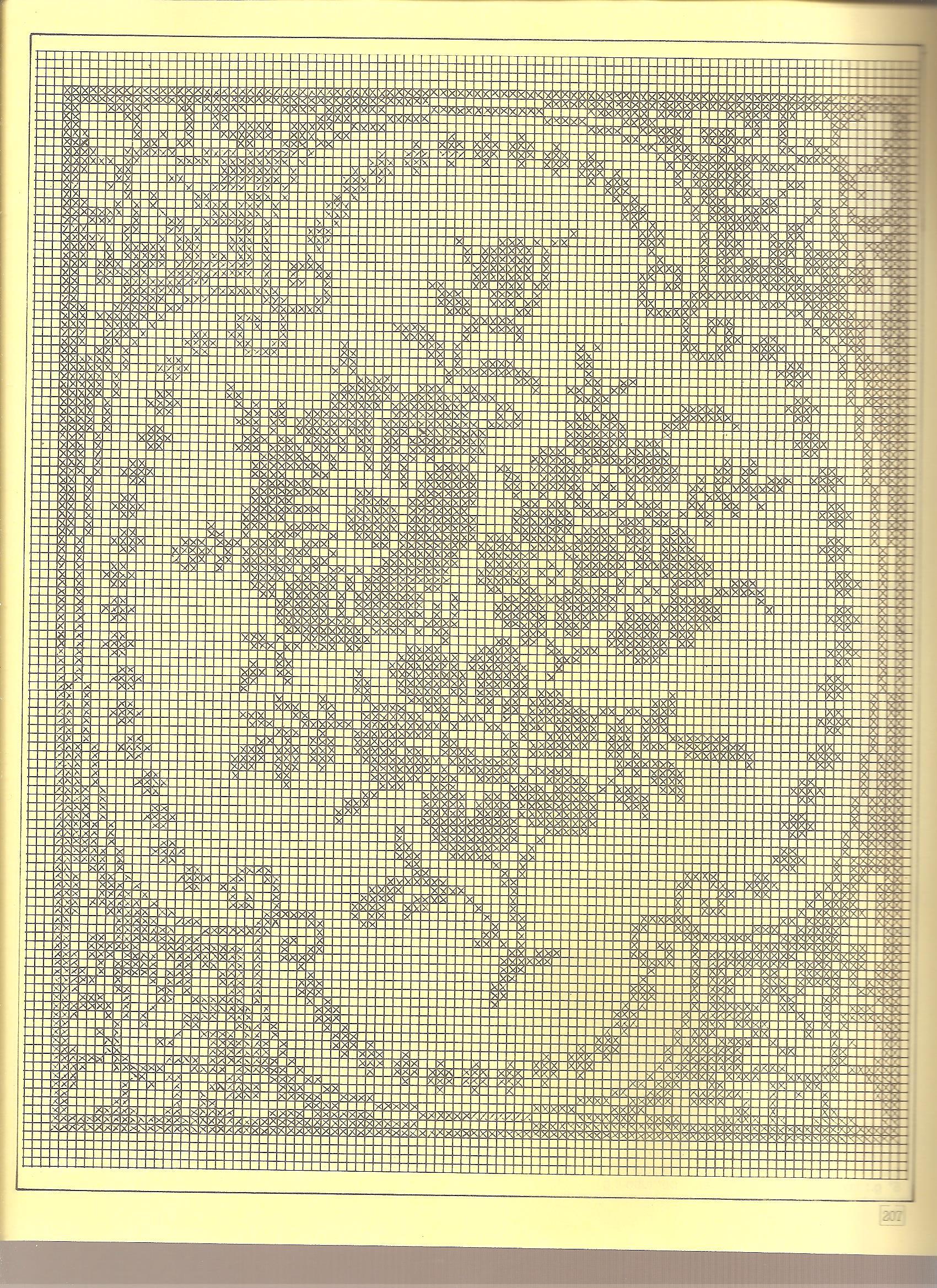 tovaglia filet fiori 3 punto croce