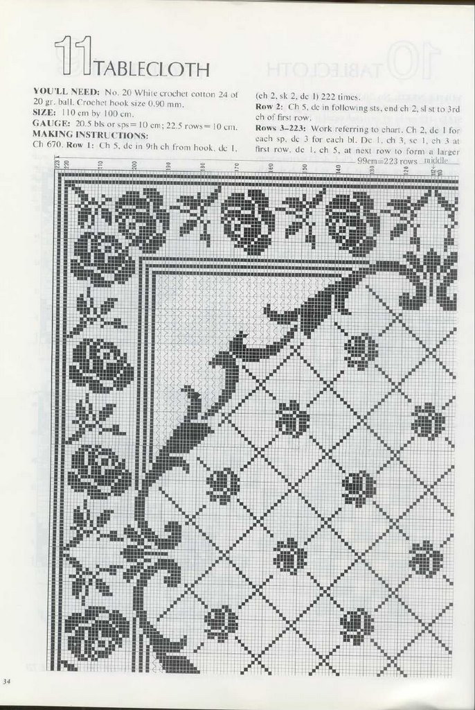 Tovaglia filet quadrata con rose 2 for Schemi tovaglie uncinetto filet