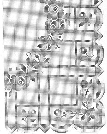 Centro filet quadrato ghirlanda punto for Lavori a filet schemi gratis